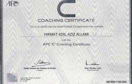 (أ.م.د. حكمت عادل اللامي) يحصل على شهادة تدريبية أسيوية بكرة القدم