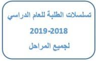 تسلسلات طلبة الكلية للعام الدراسي 2018-2019