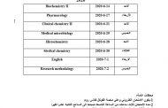 جدول امتحانات الفصل الدراسي الثاني/الدور الأول للدراسات العليا (ماجستير) 2019-2020 فرع الكيمياء الطبية